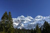 The summit of Saentis with mountain station in winter, Canton Appenzell Ausserrhoden, Switzerland