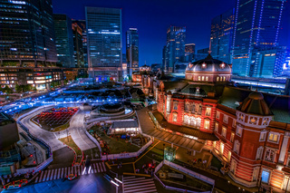 Light-up of Tokyo Station, night view