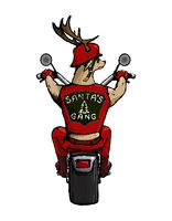 One of the Santa's deer crew riding a bike illustrated cutely.