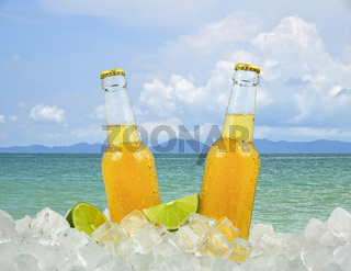 Two bottles of cold beer on ice over sea