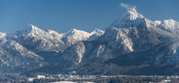 panoramic landscape in winter wirh mountain range