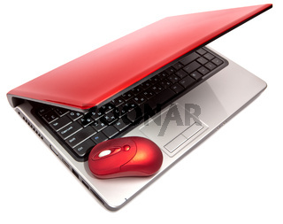 Red computer mouse and red notebook