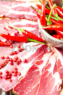 Cured meat with chilli pepper