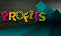 Profit word composed of multicolored alphabet