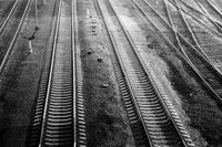 railroad at night ,black and white