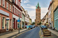 Delitzsch, Germany - 06/19/2019 - old town with a wide tower