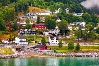 Norwegian fjord village landscape