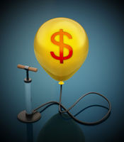 Manual hand pump connected to the inflated yellow balloon with Dollar icon. 3D illustration