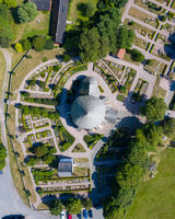 Aerial View of Osterlars Church on Bornholm, Denmark