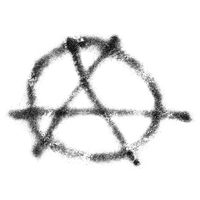 Circle A anarchy symbol isolated over white