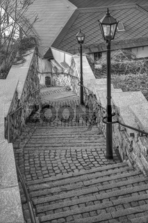 Die steile Treppe in der Altstadt von Schleiz