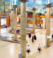 People luggage conveyor airport Tehran