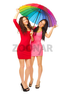 Two young girls with umbrella