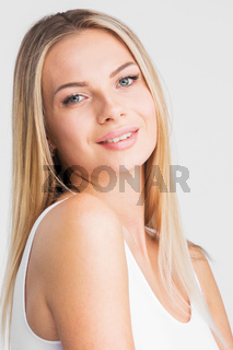 Beautiful smiling woman with long hair