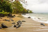 Beach during the rain on Ilhabela island