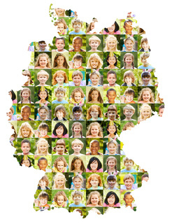 Kinder Portrait Collage auf Deutschland Karte