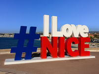 I love Nice sign, landmark in Nice