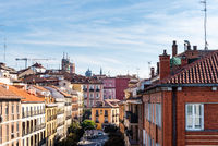 View of historical cityscape of Madrid and Segovia Street