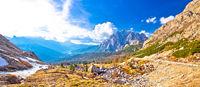Passo Valparola high alpine pass panoramic view