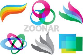 Set of Geometric colored shaped logo