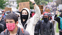 Seattle, WA/USA  June 12: Street View Silent Protesters March for George Floyd 60,000 strong in Seattle to Jefferson Park on June 12, 2020