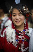 NAGALAND, INDIA, December 2013, Naga tribal girl Portrait during Hornbill festival