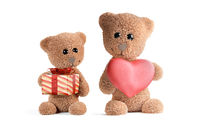 concept of love. cute teddy bear with big heart 3d-illustration