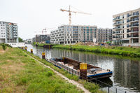 Berlin, Germany, New residential buildings along the canal in Moabit