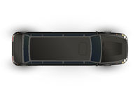 Top view of realistic glossy black limo, luxury car on white