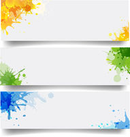 Banners Set With Blobs Isolated White Background