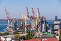 Harbor cranes in the Cargo Port of Odessa, Ukraine