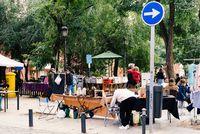 Flea market in Dos de Mayo Square in Malasana in Madrid