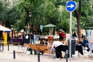 Flea market in Dos de Mayo Square in Malasana in Madrid
