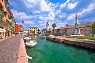 Lazise turquoise harbor and waterfront view, Lago di Garda