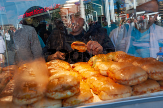 The famous Turkish Islak or wet hamburger for sale in Taksim square, Istiklal Street, Istanbul, Turkey.