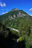 lech valley, austria, tyrol, view to the hornbachkette