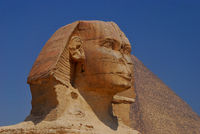 sphinx head in egypt with blue sky view details