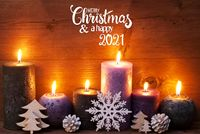 Purple Candle, Christmas Ornament, Merry Christmas And Happy 2021