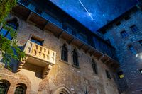 The original bacon of Romeo and Juliet under a stunning starry sky. Verona, Italy. Tragedy by William Shakespeare.