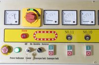 Control panel with various switches and displays