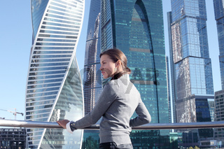 Stressed business woman in city