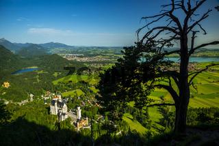 Königsschlösser, Schloss Neuschwanstein und Schloss Hohenschwangau, dahinter der Schwansee, Weißensee, Füssen, Hopfensee und Forggensee, Schwangau, Ostallgäu, Allgäu, Schwaben, Bayern, Deutschland, Europa