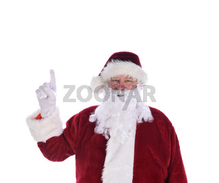 Santa Claus with his index finger in the air pointing up, Number one gesture, isolated on white