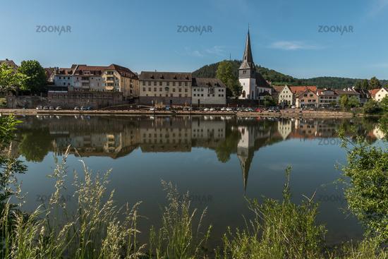 Town of Neckargemuend with Neckar River, Baden-Wuerttemberg, Germany
