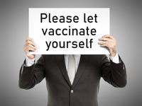 business man message Please let vaccinate yourself