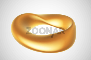 3D golden Moebius strip isolated on white background.