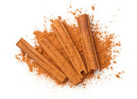 Cinnamon Sticks With Powder Isolated Over White