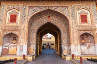 Jaipur City Palace gates, traditional decoration of India