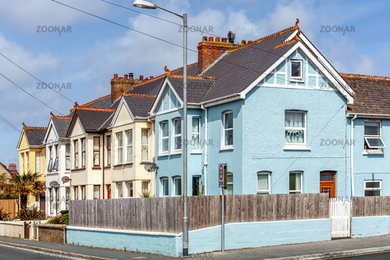 Row of traditional colourful seaside cottages