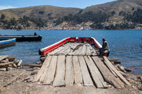 Wooden Ferry at Lake Titicaca